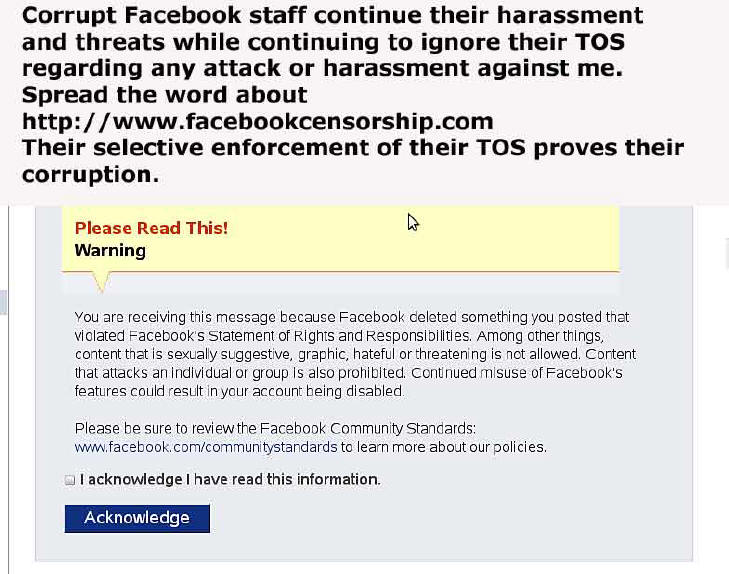 Facebook threats and harassment www.facebookcensorship.com