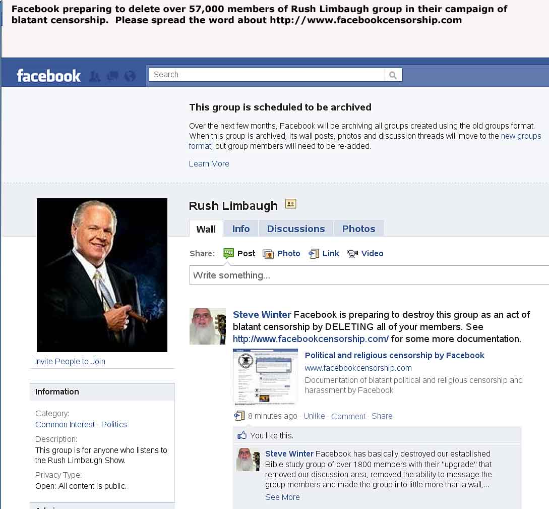 Facebook censorship of Rush Limbaugh group